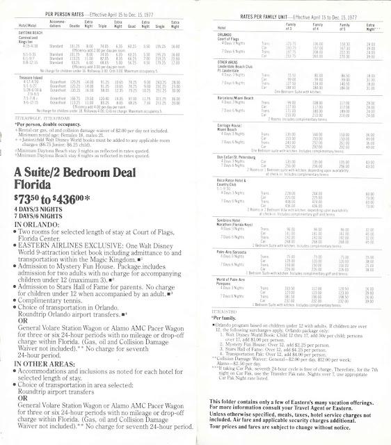 Suite Walt Disney World Eastern Airlines Guide 1977