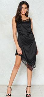 vestido satinado asimetrico con ribete de encaje para nochevieja 2018