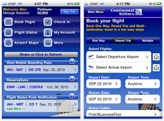 Continental Airlines iPhone app gives travelers access to travel information