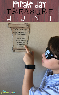 Download a FREE printable treasure hunt for Pirate Day!