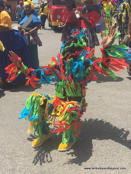 Shaggy Bear dances in parade in Bridgetown, Barbados