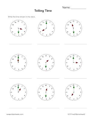 Kidz Worksheets: Kindergarten Time2 Worksheet2