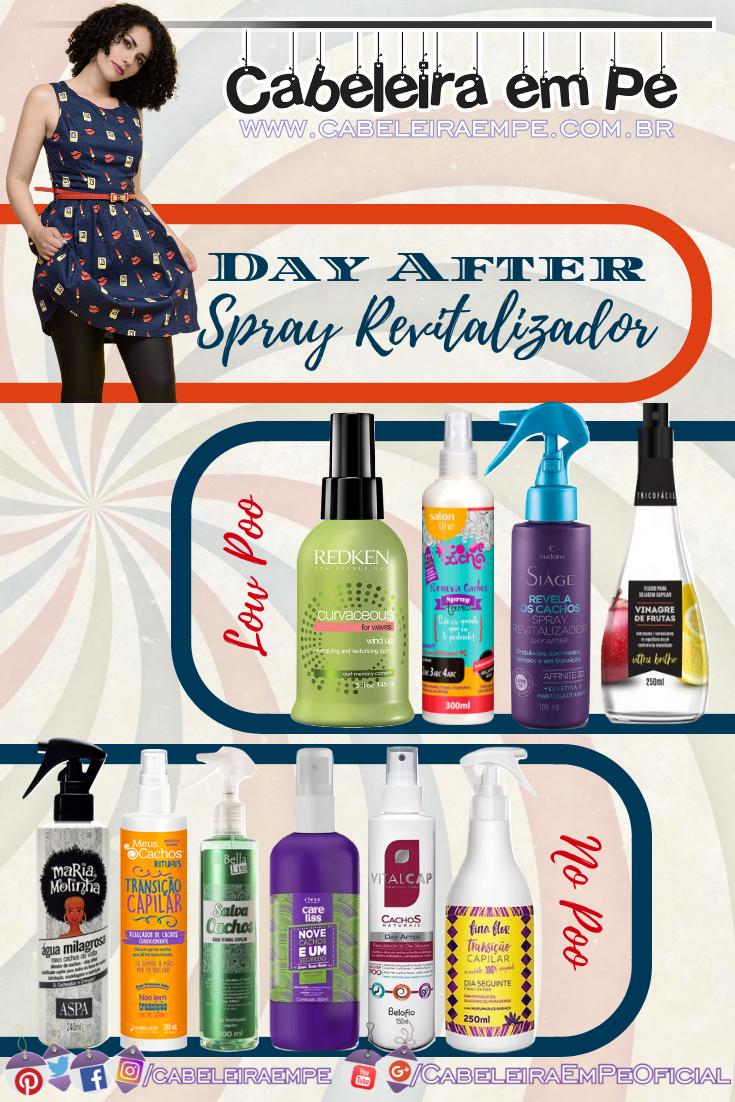 Spray Day After Revitalizador de Cachos para arrumar Cabelo Cacheado ao Acordar - Redken, Salon Line, Aspa, Embelleze, La Bella Liss, Care Liss, Eudora, Vitalcap, Fina Flor e Tricofácil
