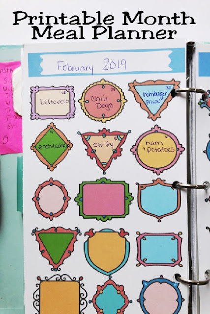 Organize yourself and your grocery bill, with this fun, colorful monthly meal planner page. With cute frames in all sizes and styles, you'll happily fill this out each day to keep your kitchen organized.  #plannerpage #montlymealplan #printableplanner #diypartymomblog