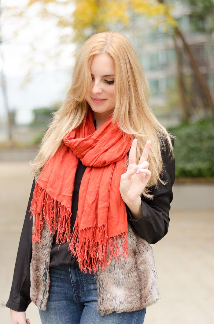 faux fur, bell bottom jeans, vancouver fashion blog, fur vest