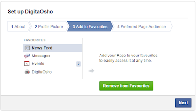 Facebook page set up - Add to favourites2