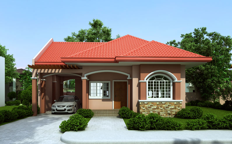 Houses With Red Colored Theme Roofing on Two Story House Designs Philippines