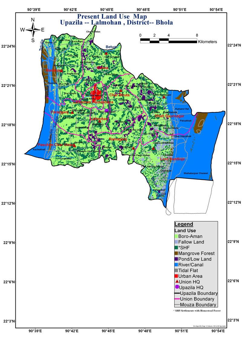 Lalmohan Upazila Land Use Mouza Map Bhola District Bangladesh