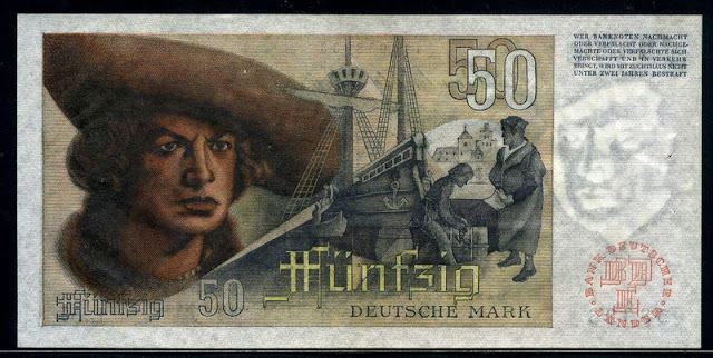 Germany bank notes 50 Deutsche Mark banknote