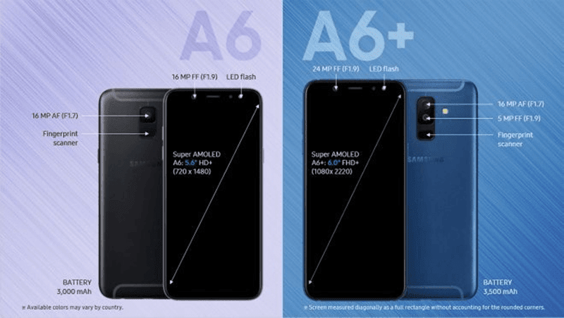 Samsung Galaxy A6 (2018) and Galaxy A6+ (2018) leaked