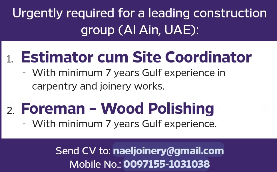 Required Estimator & Foreman for UAE Local Hiring JOBS