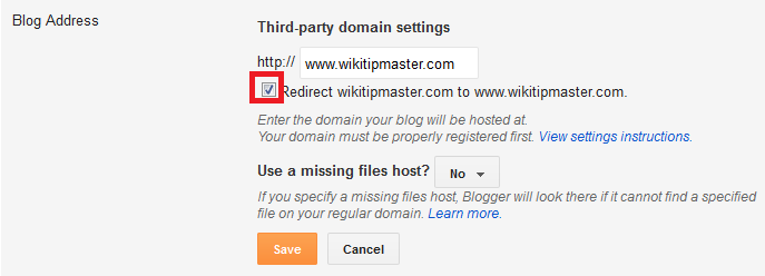 Blogger Third party domain setting screen
