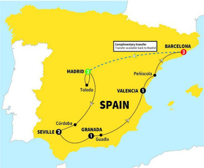 Itinerary for the Spanish Wonder tour by Trafalgar. Numbers denote number of nights of hotel stay