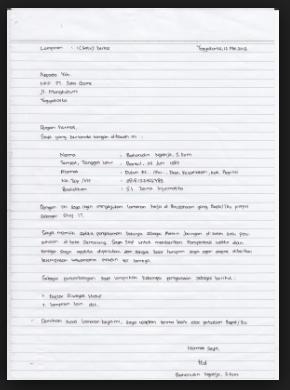 contoh surat lamaran kerja tulisan tangan untuk pabrik