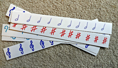 Music notation cutting strips from And Next Comes L
