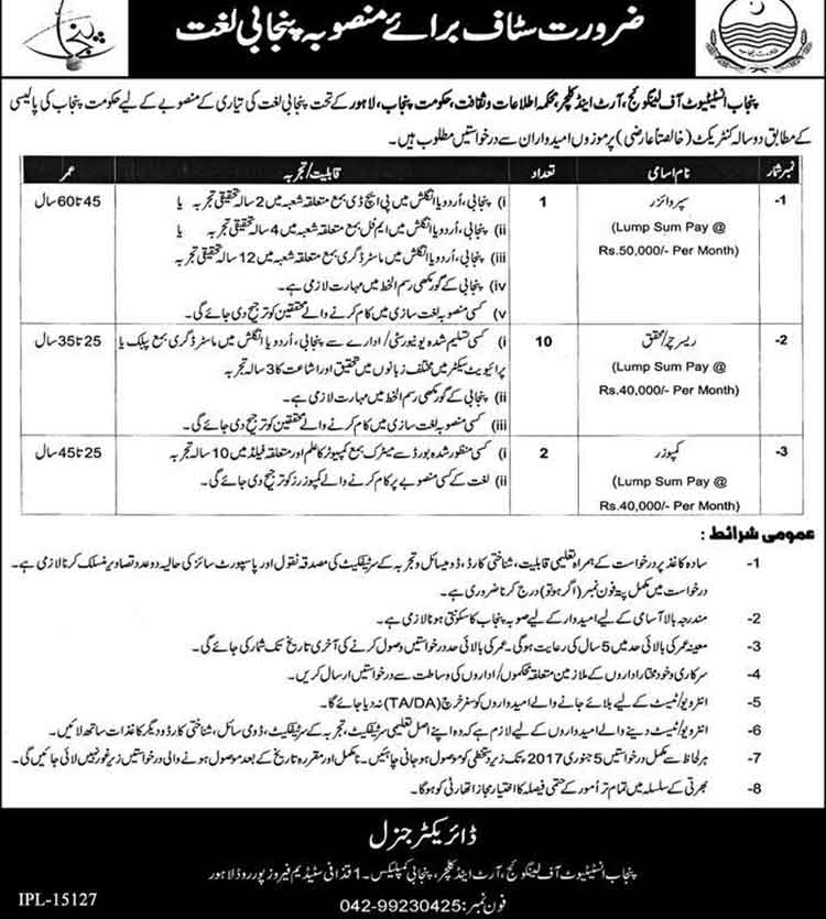 Jobs in Punjab Institute of Languages and Culture