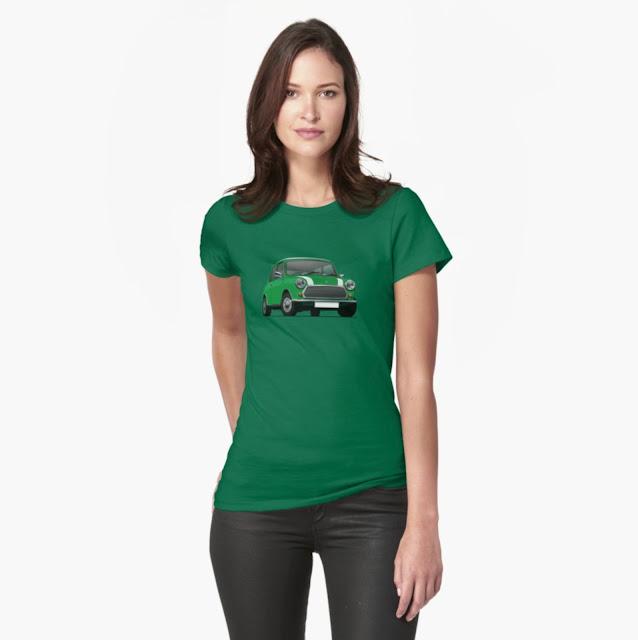 Green Classic Mini Cooper - T-shirts