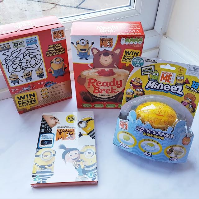Ready Brek oat porridge Despicable Me 3 promotion pack, Despicable Me 3 DVD and Despicable Me 3 Mineez Fizz n Surprise