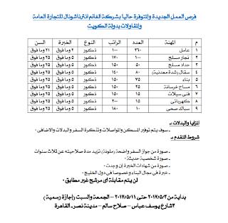 وظائف شاغرة فى القوى العامله فى الكويت عام 2017