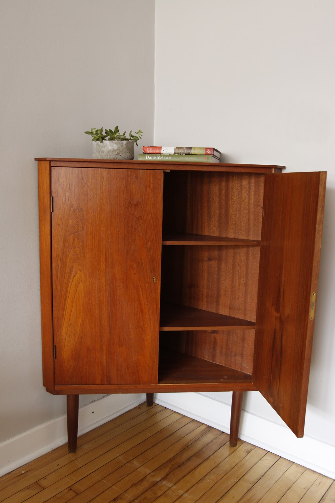 Danish Modern Corner Cabinet Clad In Teak Excellent Vintage Condition This Has Beautiful Br Skeleton Key Holes That Lock The