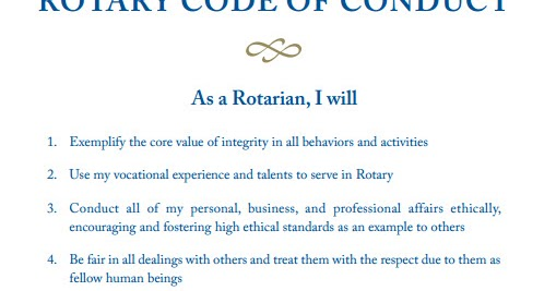 Rotary E-Club of the Caribbean, 7020 Rotary Code of Conduct - Code Of Conduct Example