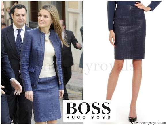 Queen Letizia wore HUGO BOSS Skirt-Suit