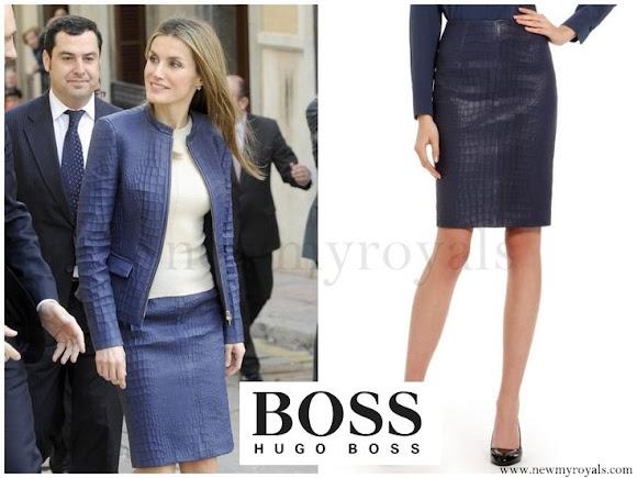 Queen Letizia wore HUGO BOSS Skirt-Suit