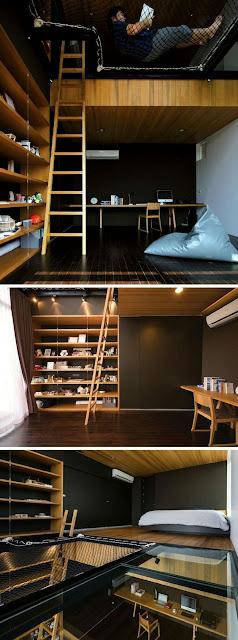Monoambiente con doble piso y decoración minimalista