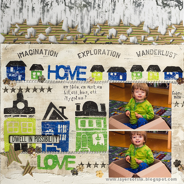 Layers of ink - Dwell in Possibility Mixed Media layout by Anna-Karin with Art Foamies stamps.