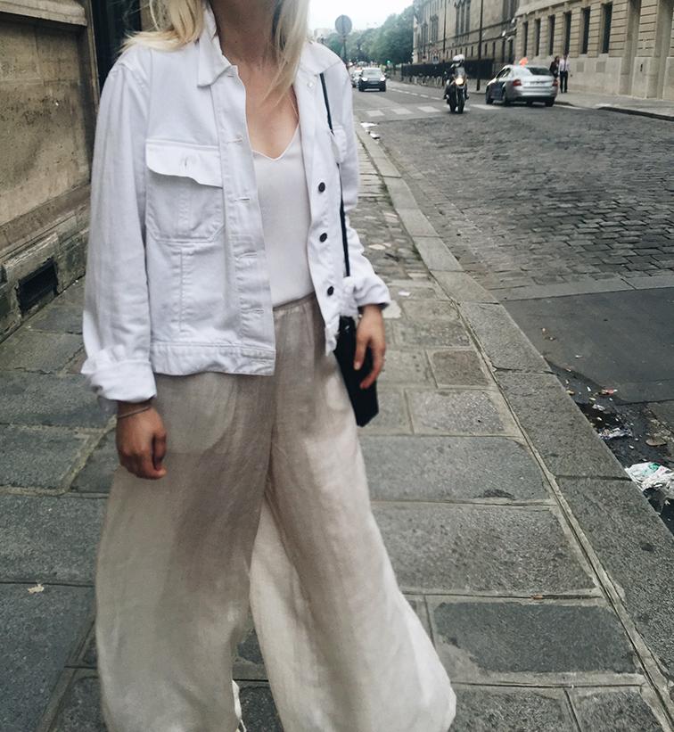 Cienne NY palazzo pants, Loeffler Randall Espadrilles, J Brand denim jacket, Jcrew cami 1