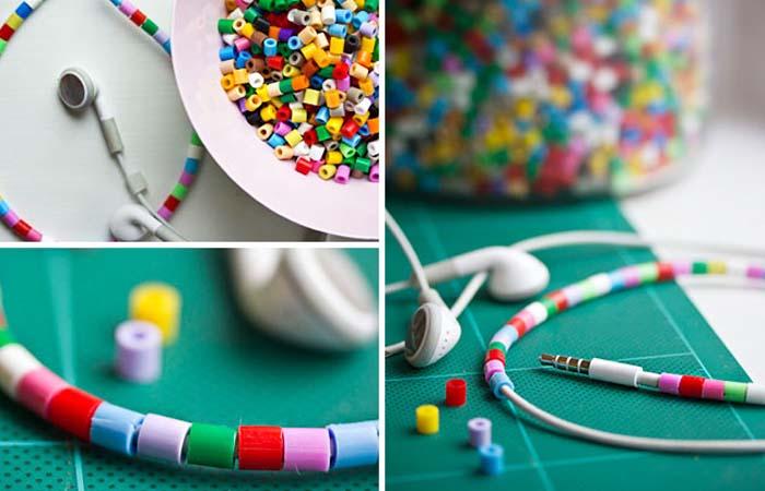boncuk ile kulaklık kablosu kaplama süsleme