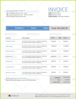 web design invoice template