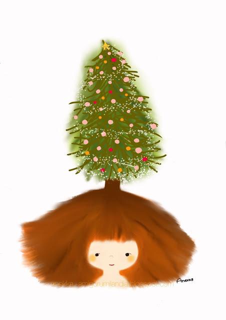 ilustración navideña niña y árbol de navidad