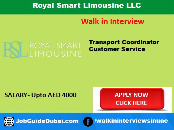 Job in Dubai for Transport Coordinator and Customer service