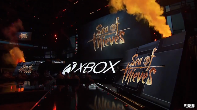 Sea of Thieves Rare Co. Ltd on every monitor screen Microsoft E3 2016 conference