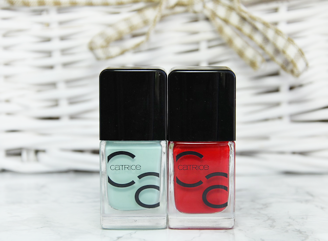 Catrice ICONails Gel Lacquer 14 Mint Map and 05 It's All About Red