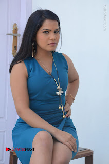 Telugu Actress Kulakarni Mamatha Stills in Blue Short Dress at Idea movie Creations Launch  0135.JPG