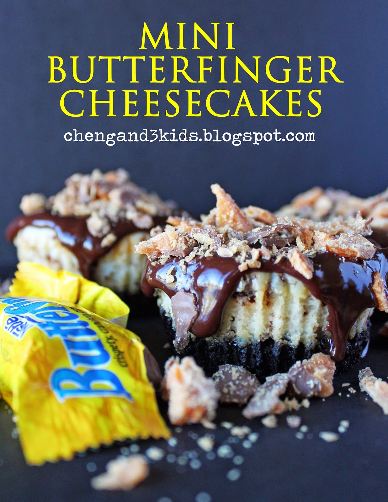 Mini Butterfinger Cheesecakes by Cheng and 3 Kids
