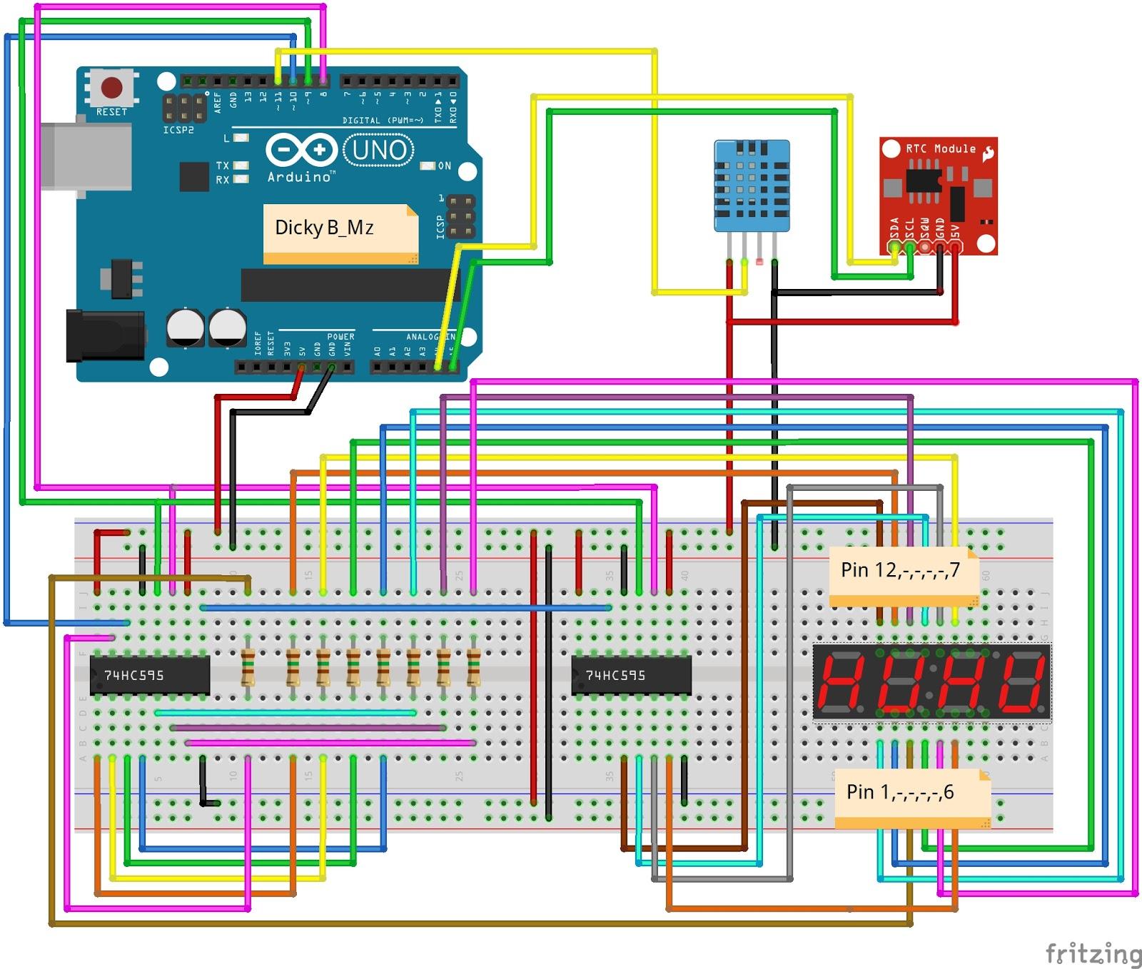 Jam Digital Arduino RTC 7 Segment + Temperature - Dicky B_Mz
