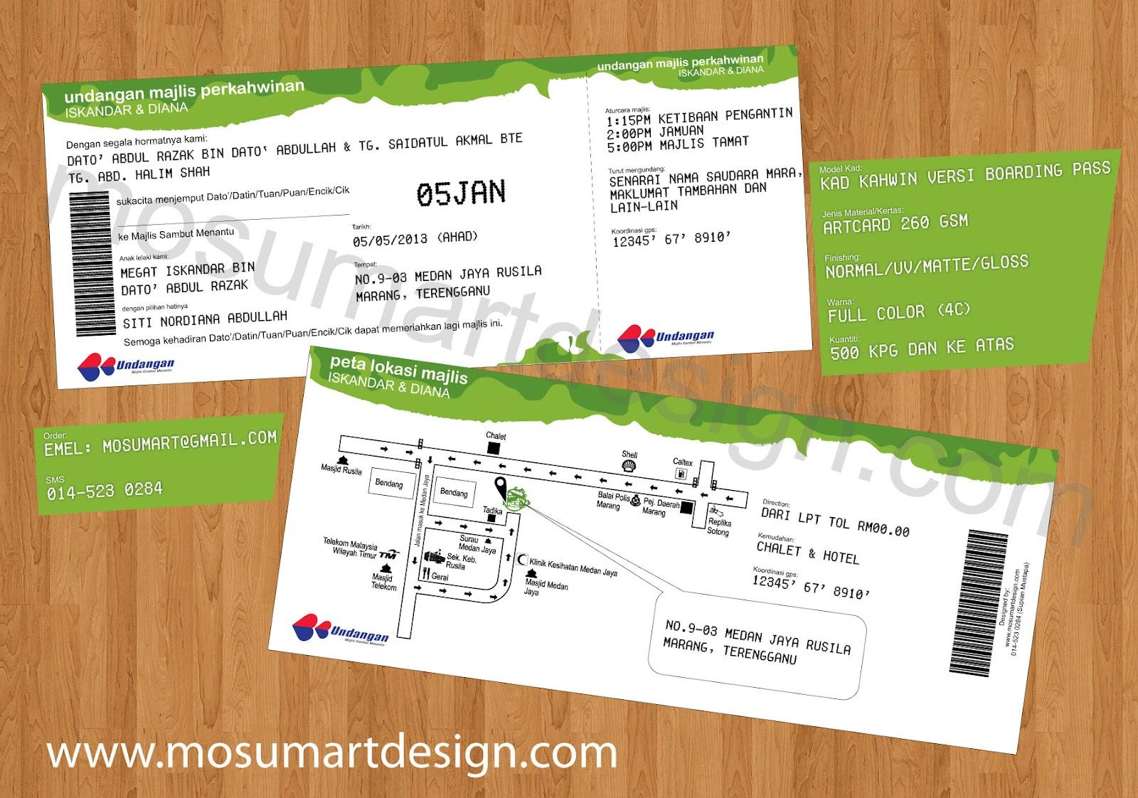 1 Design Kad Kahwin Tiket Kapal Terbang Boarding Pass