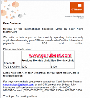 Gtbank Reduces International Withdrawal Spending Limit Of Naira Mastercard To $ 100 Per Month