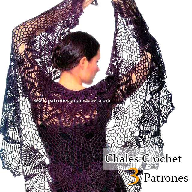 3 Patrones de Chales para tejer con Crochet | Patrones para Crochet