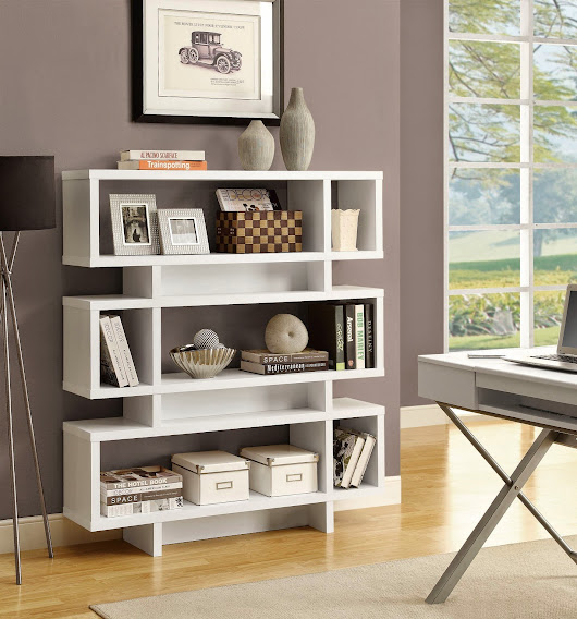 "White Hollow-Core 55""H Modern Bookcase 2532"