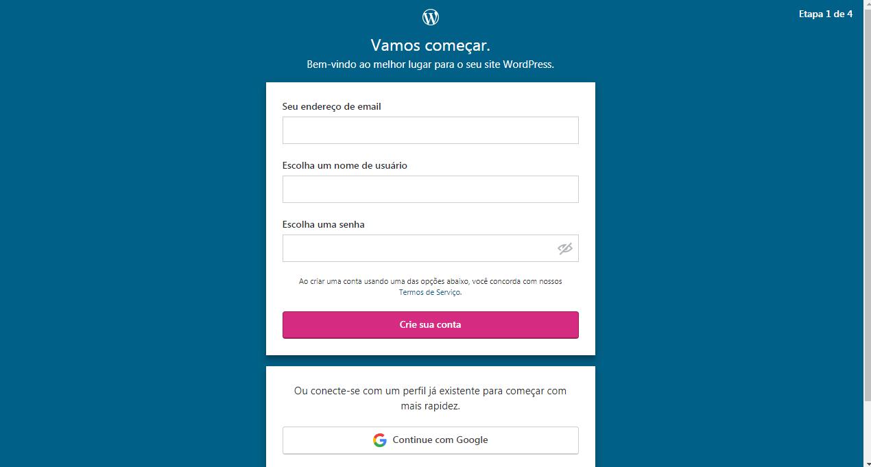 Faça seu cadastro em WordPress.com