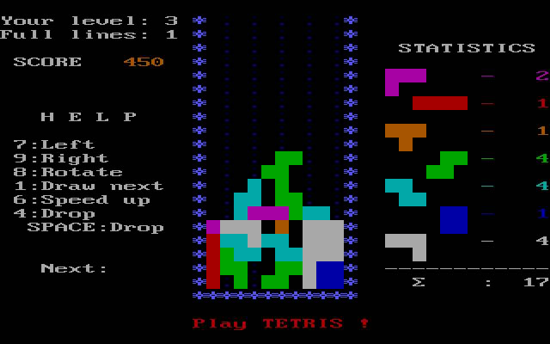 Tetris MS-DOS version 1986 - screenshot