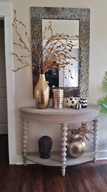 fall decor with chevron and striped pumpkins