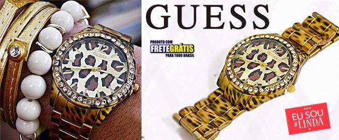 ef1bd6b2254 ○ Brechó Fashion Week ○•  Relógio Guess Oncinha (VENDIDO)