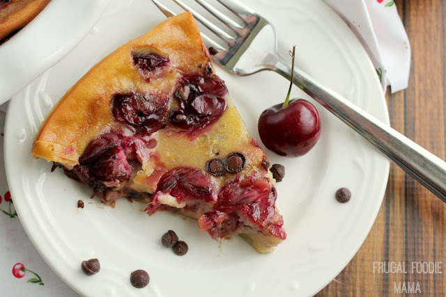 Sweet, fresh cherries are paired with deep, rich chocolate chips in a creamy custard-like cake in this easy to make Cherry Chocolate Clafoutis.