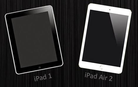 apple ipad 1 and ipad air 2