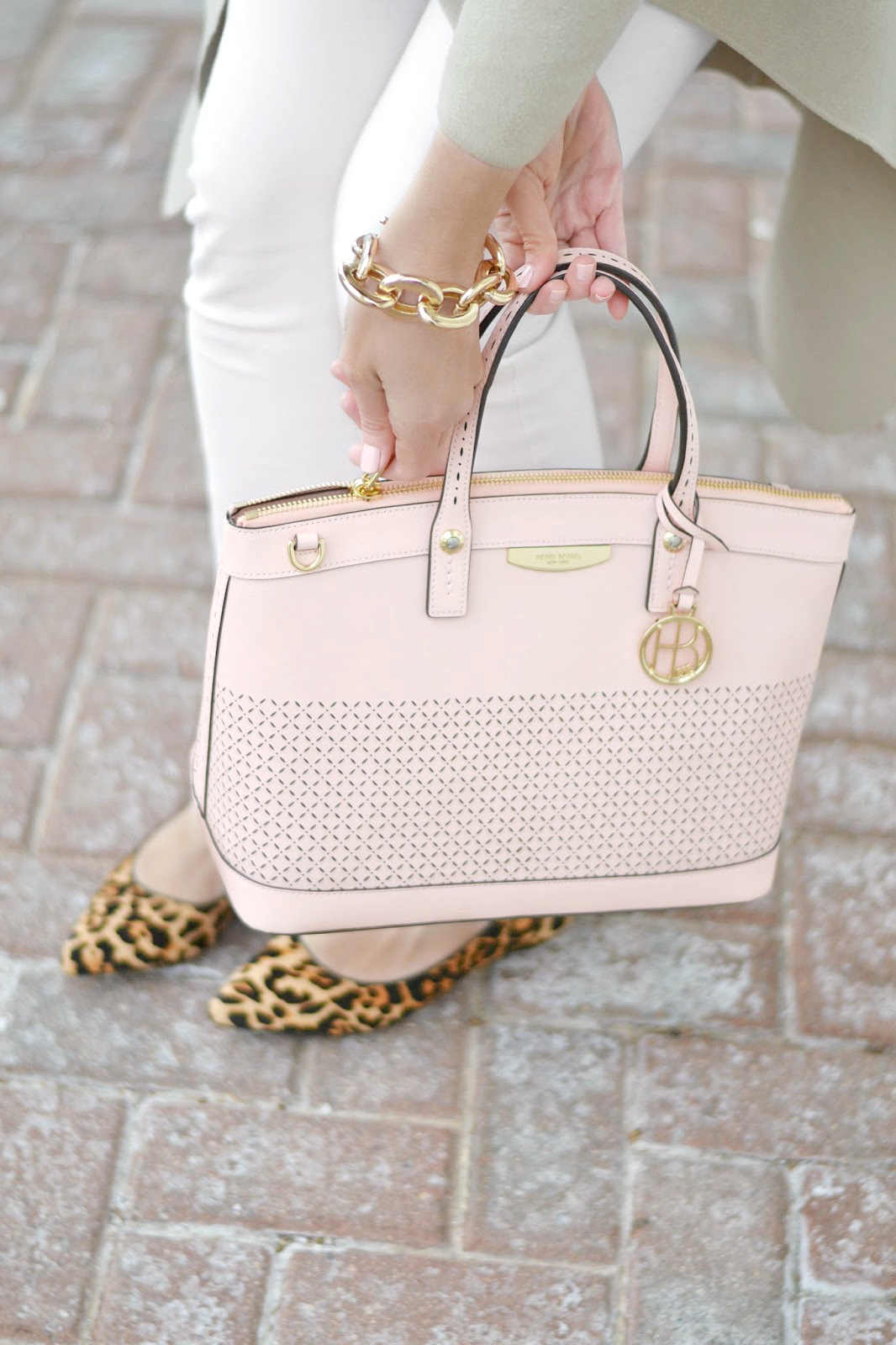 henri bendel perforated west 57th satchel light pink